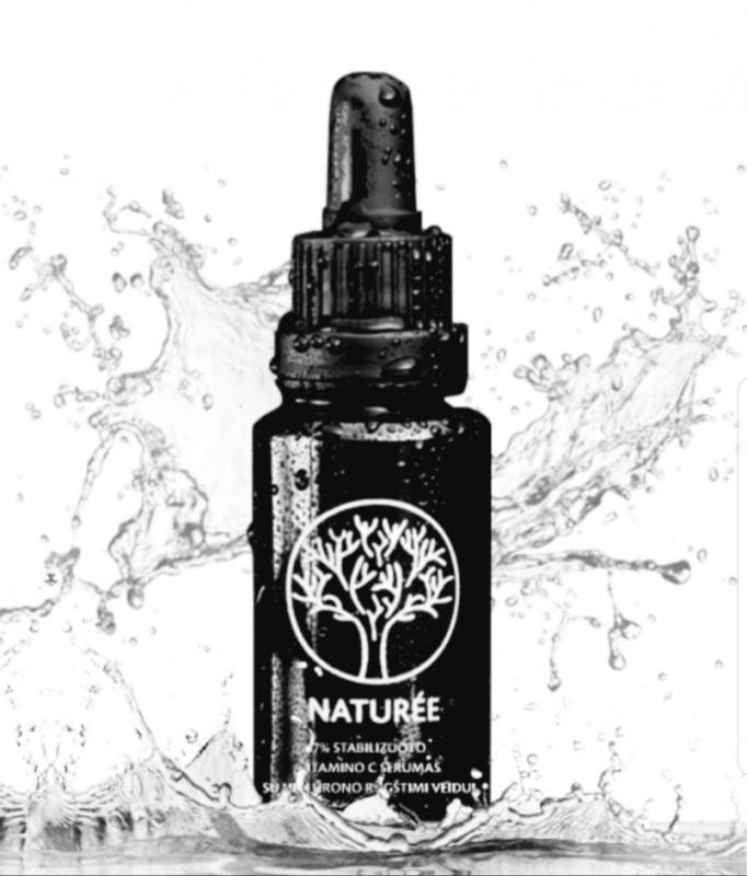 Stabilizuoto vitamino C serumas su hialurono rūgštimi veidui, 30 ml.